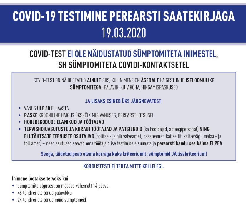Covid-19 testimine perearsti saatekirjaga